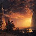 Sunset In The Yosemite Valley by Albert Bierstadt
