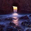 Sunset On Arch Rock In Pfeiffer Beach Big Sur In California. by Jamie Pham