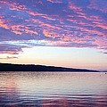 Sunset On Cayuga Lake Cornell Sailing Center Ithaca New York by Paul Ge