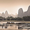 Sunset On Li River by Delphimages Photo Creations