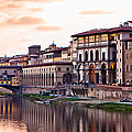 Sunset On Ponte Vecchio In Florence by Susan Schmitz