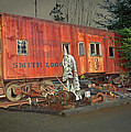 Sunset On Vintage Rustic Caboose by Tina Wentworth