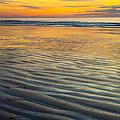 Sunset On Wet Sandy Beach Seascape Fine Art Photography Print  by Jerry Cowart