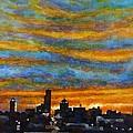 Sunset Over Dayton Ohio Skyline by Adam Mitchell