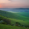 Sunset Over English Countryside Escarpment Landscape by Matthew Gibson