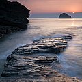 Sunset Over Gull Rock From Trebarwith by Adam Burton / Robertharding