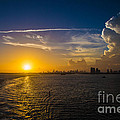 Sunset Over Miami From Out At Sea by Rene Triay Photography