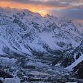 Sunset Over Mueller Glacier Lake by Colin Monteath
