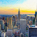 Sunset Over New York City by Mark E Tisdale