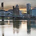 Sunset Over Portland City Skyline Panorama by Jit Lim