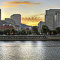 Sunset Over Portland Downtown Skyline by David Gn