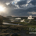 Sunset Over The Firehole River - Yellowstone by Sandra Bronstein