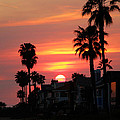 Sunset Over The Homes Of Newport Beach by Kyle Morris