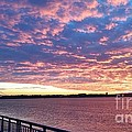 Sunset Over Verrazano Bridge And Narrows Waterway by John Telfer