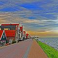 Sunset Over Volendam by Elvis Vaughn