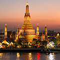 Sunset Over Wat Arun Temple - Bangkok by Matteo Colombo