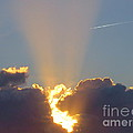 Sunset Rays Bursting Through The Clouds With Jet Stream From Aircraft. by Robert Birkenes