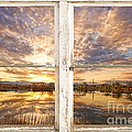 Sunset Reflections Golden Ponds 2 White Farm House Rustic Window by James BO  Insogna