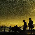 Sunset Silhouette Of People At The Beach by Peter v Quenter