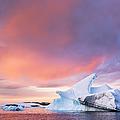 Sunset Sky Over Floating Iceberg by Patrick J Endres - Alaskaphotographics