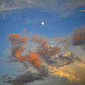Sunset Sky With Gibbous Moon And Clouds Usa by Sally Rockefeller