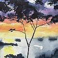Sunset Tree Koh Chang Thailand by Carlin Blahnik CarlinArtWatercolor