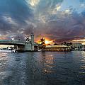 Sunset Waterway Panorama by Debra and Dave Vanderlaan