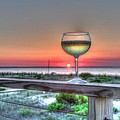 Sunset With Wine Glass by Max Chernyshov