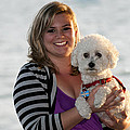 Sunset With Young American Woman And Poodle by Sally Rockefeller