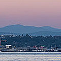 Super Moon And Sailing Panorama by Scott Campbell