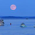 Super Moon Hangs Over Belfast Harbor Maine by Barbara West