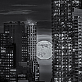 Super Moon Rises Over The Big Apple Bw by Susan Candelario