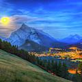 Super Moonrise Over Banff by Alan Dyer