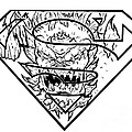 Superman And Doomsday Pen And Ink by Justin Moore
