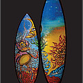 Surfboard Art Sun Moon by MarceloSouza TattoosnGraphx