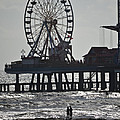 Surfer And Lovers At Pleasure Pier by Allen Sheffield