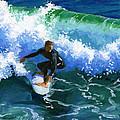 Surfin' Huntington Beach Pier by Alice Leggett
