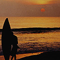 Surfing At Sunset by Anonymous