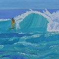Surfing Big Waves On The North Shore Of Oahu by Sally Jones