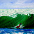 Surf's Up Surfing Wave Ocean by Katy Hawk