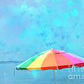 Surreal Blue Summer Beach Ocean Coastal Art - Beach Umbrella  by Kathy Fornal