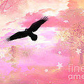 Surreal Dreamy Fantasy Ravens Pink Sky Scene by Kathy Fornal