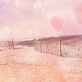 Surreal Dreamy Pink Coastal Summer Beach Ocean With Balloons by Kathy Fornal