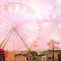 Surreal Dreamy Pink Myrtle Beach Ferris Wheel by Kathy Fornal