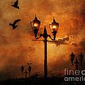 Surreal Fantasy Gothic Night Lanterns Ravens  by Kathy Fornal