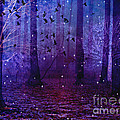 Surreal Fantasy Starry Night Purple Woodlands - Purple Blue Fantasy Nature Fairy Lights  by Kathy Fornal