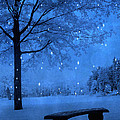 Surreal Fantasy Winter Blue Tree Snow Landscape by Kathy Fornal