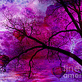 Surreal Abstract Fantasy Purple Pink Trees Hot Air Balloons by Kathy Fornal