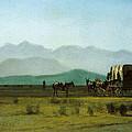 Surveyors Wagon In The Rockies by Albert Bierstadt