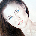 Actress And Model Susan Ward Blue Eyed Beauty With A Mole by Jim Fitzpatrick